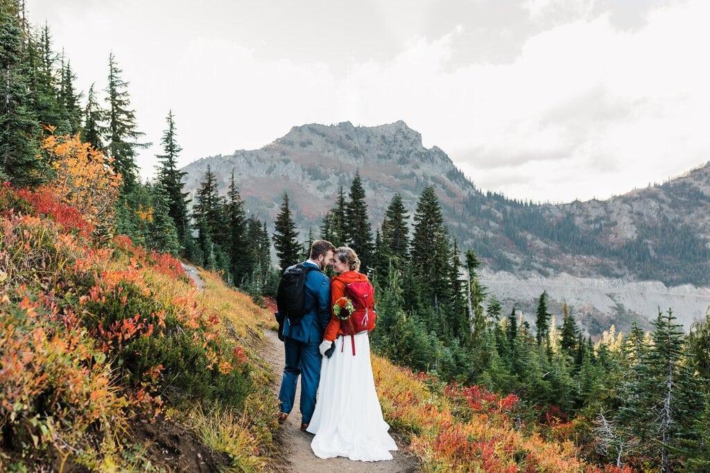 pacific crest trail cascade mountains mt rainier national park washington elopement adventure wedding
