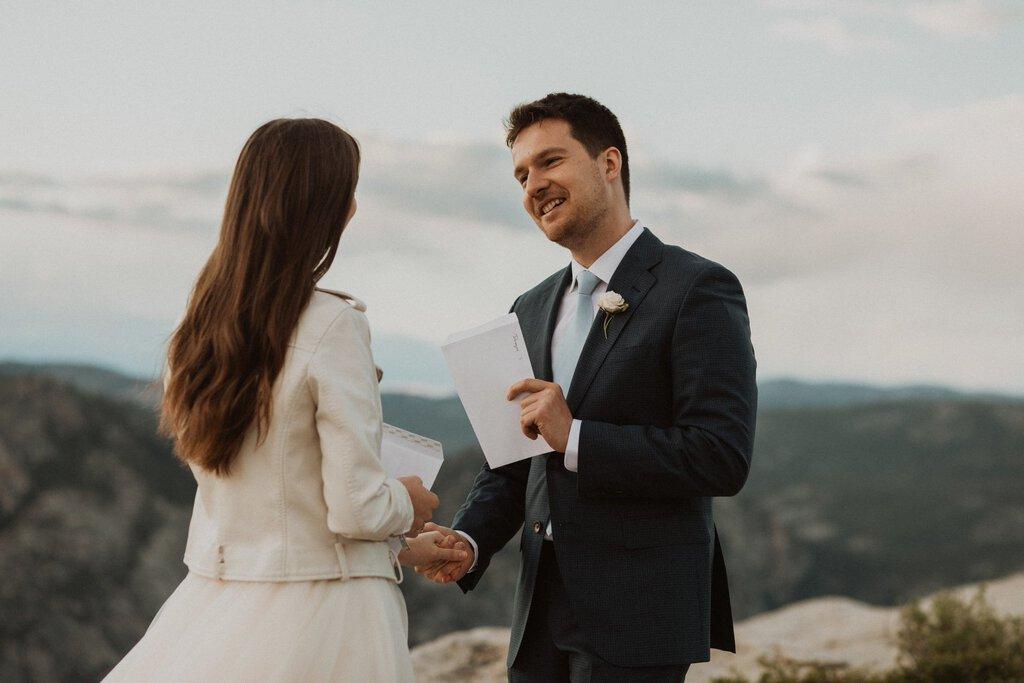 taft point yosemite national park sunset elopement mountain adventure wedding