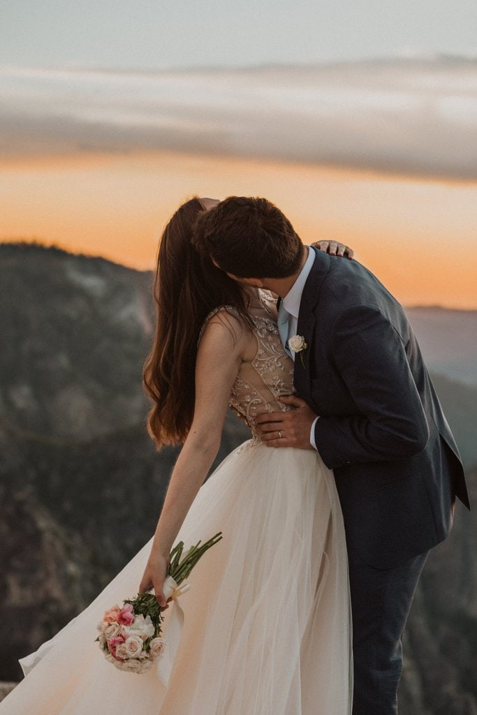 Sunset photography at Taft Point for intimate elopement.
