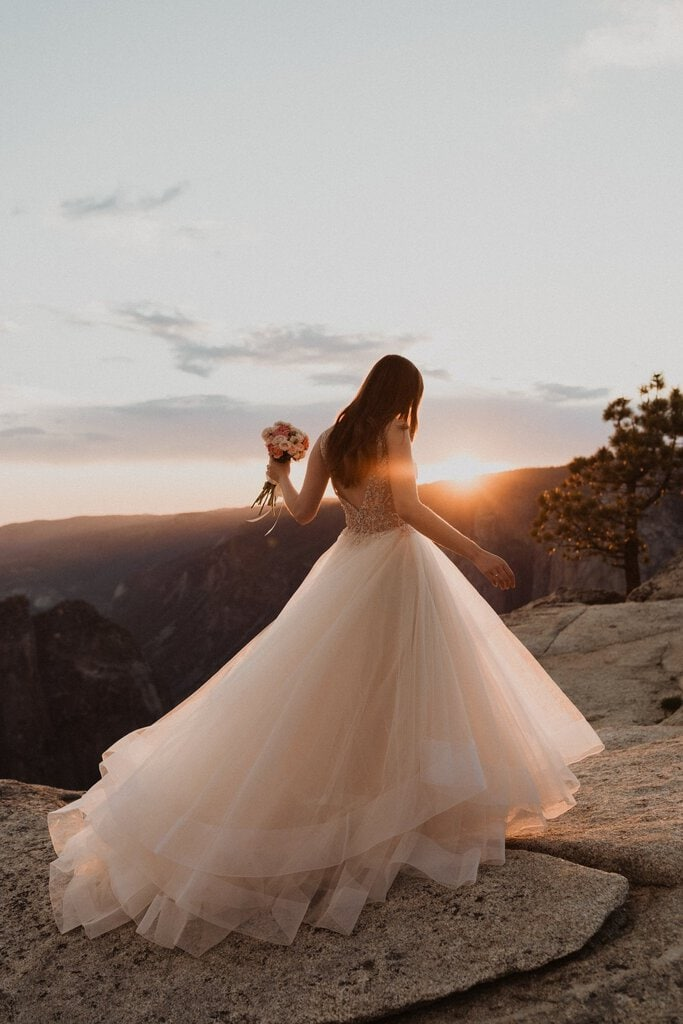 detail photography of bride's dress at Taft point.
