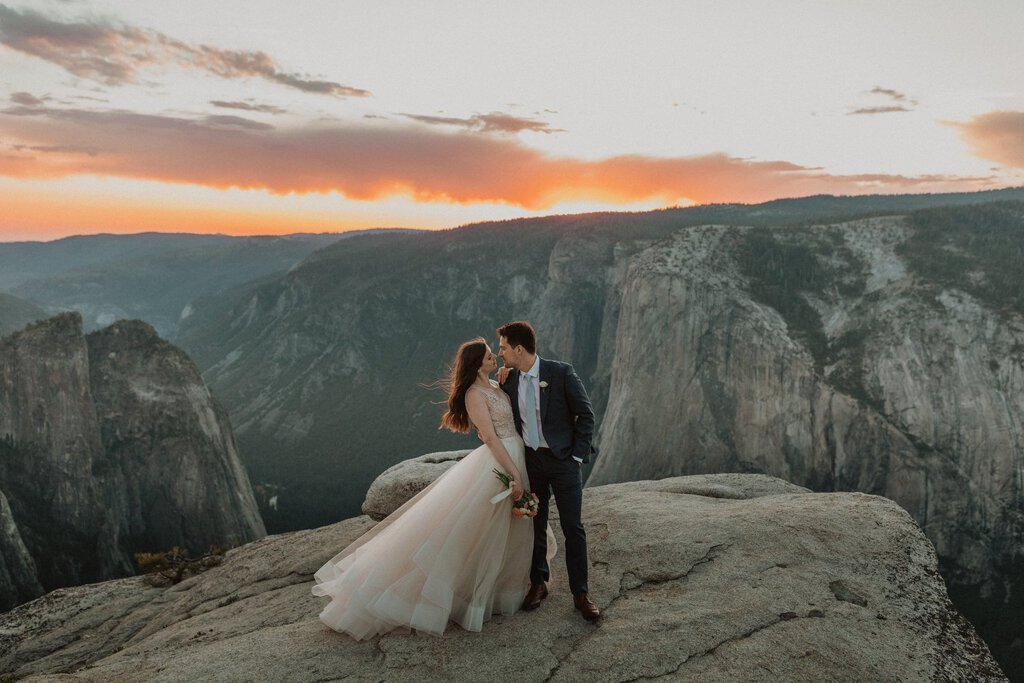 landscape view of newlywed couple.
