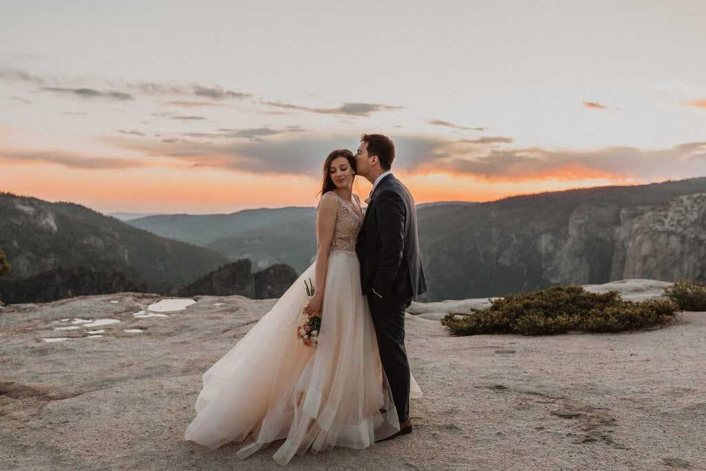 bride and groom portraits at Taft Point.