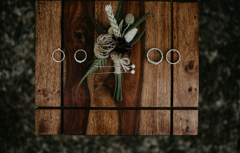 Detail photography of bride and groom's rings.