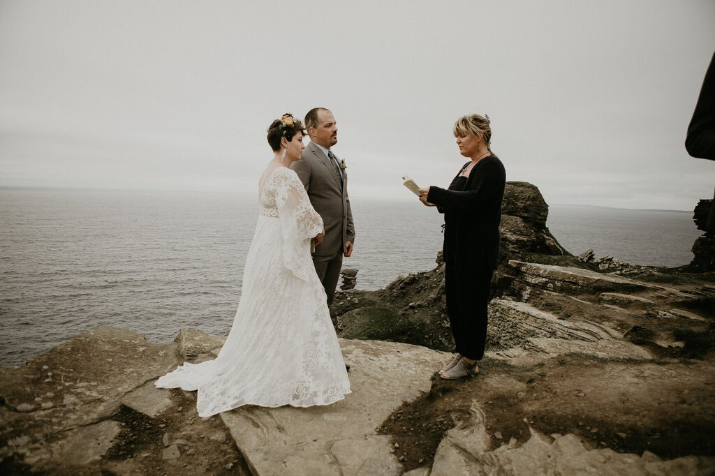 Intimate wedding ceremony in Ireland.