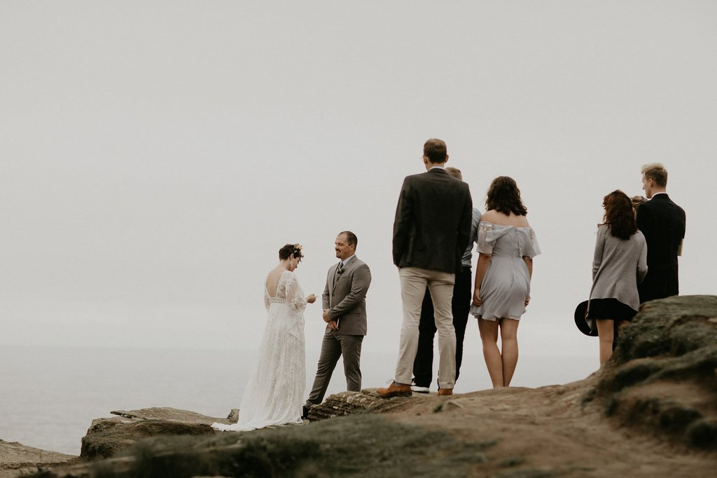 intimate wedding on the Cliffs of Moher in Ireland.