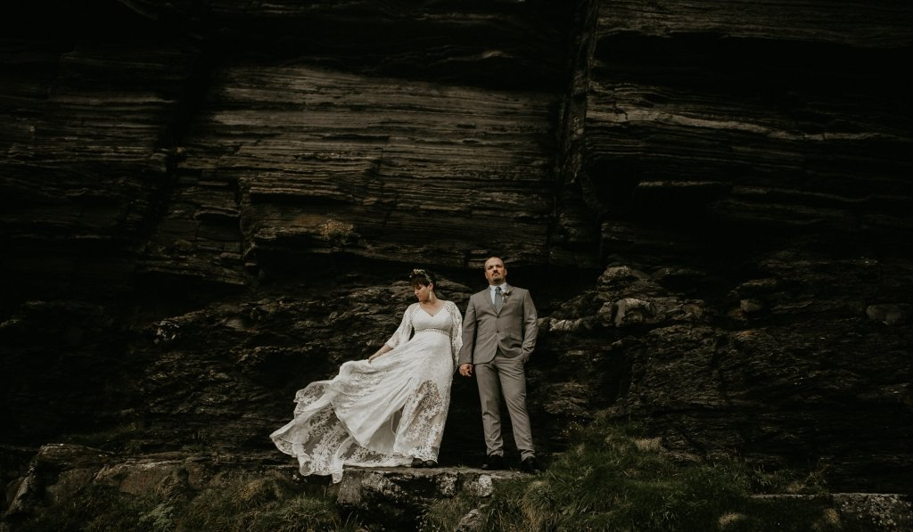bride and groom adventurous portrait..