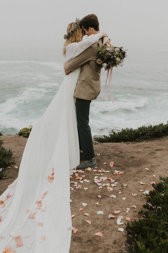 Harriett Falvey bridal dress for California Elopement.