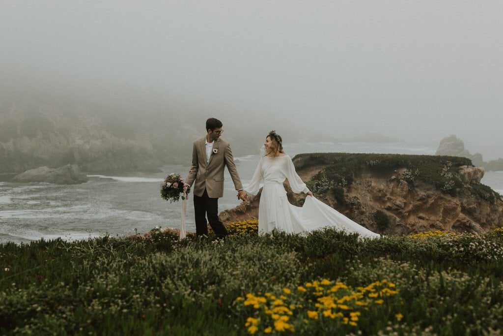 Bride and groom walking in California at Garrapata State Park Elopement.