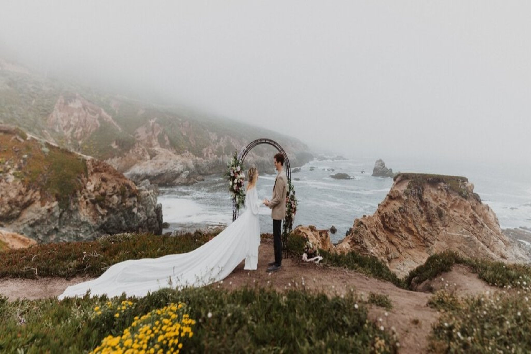 Bride and groom intimate ceremony at Garrapata State Park.