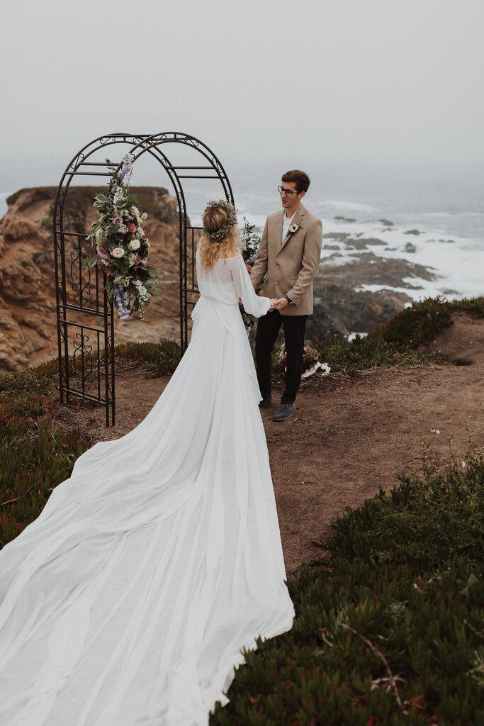 Harriett Falvey bridal dress during elopement.