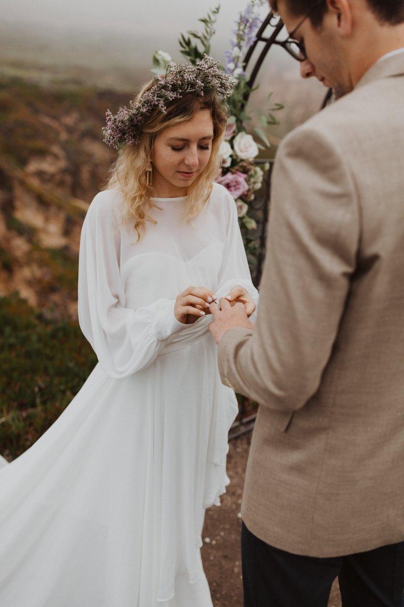 bride exchanging vows during elopement.