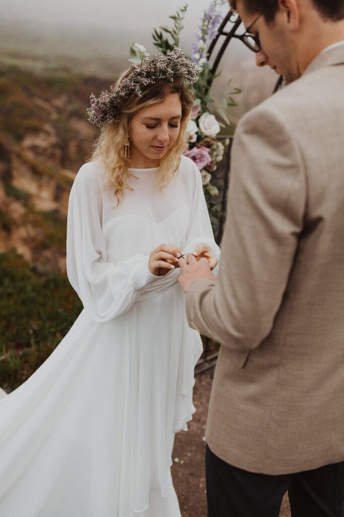 bride exchanging vows during elopement.