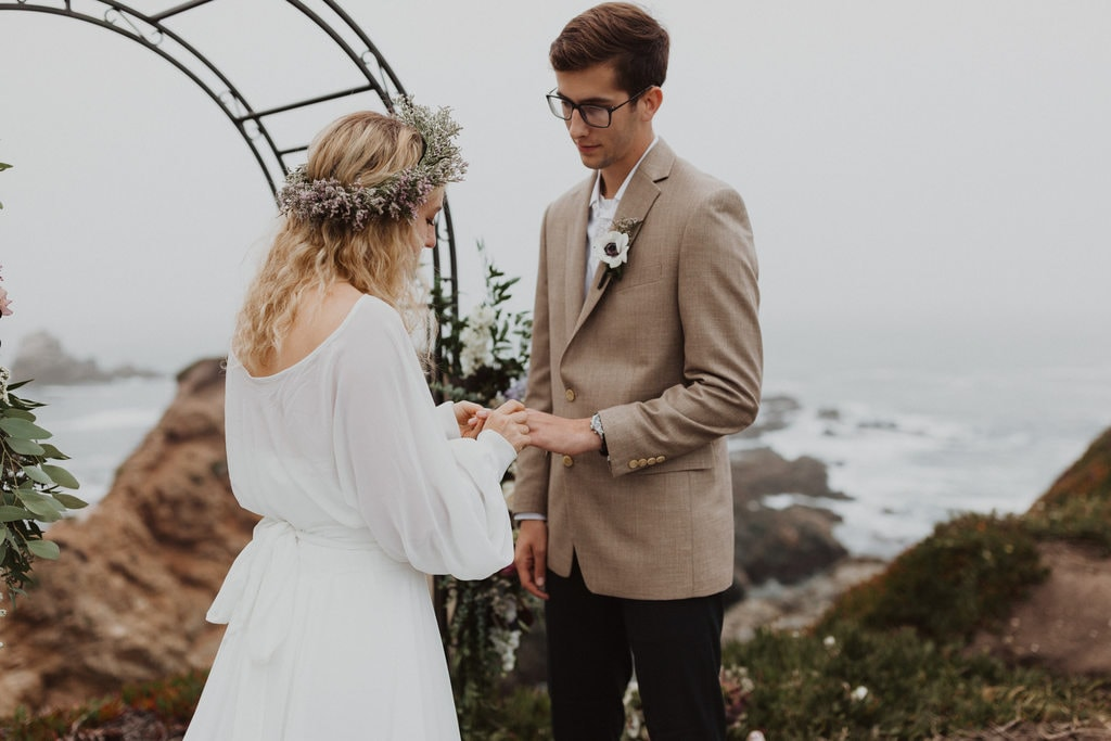 Bride and groom exchanging vows at elopement in California.