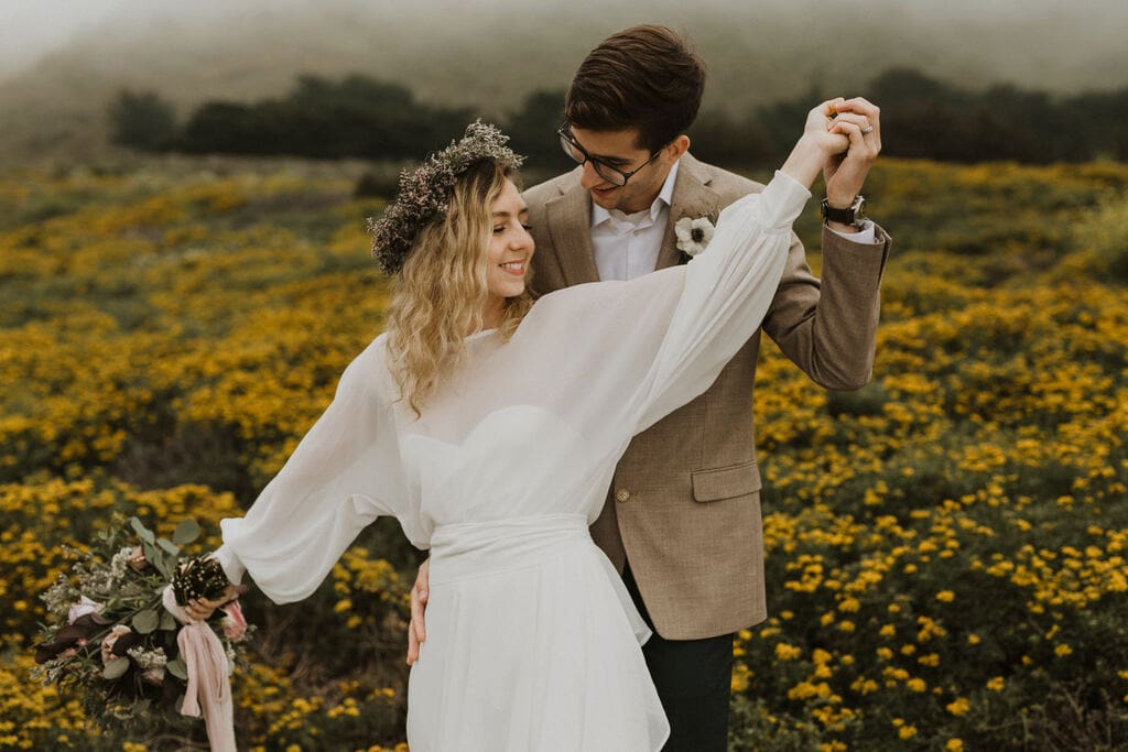 Intimate wedding in California at Garrapata State Park.