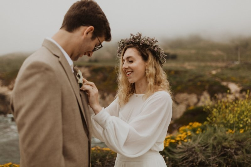 boho bride and groom getting ready to elope in California.