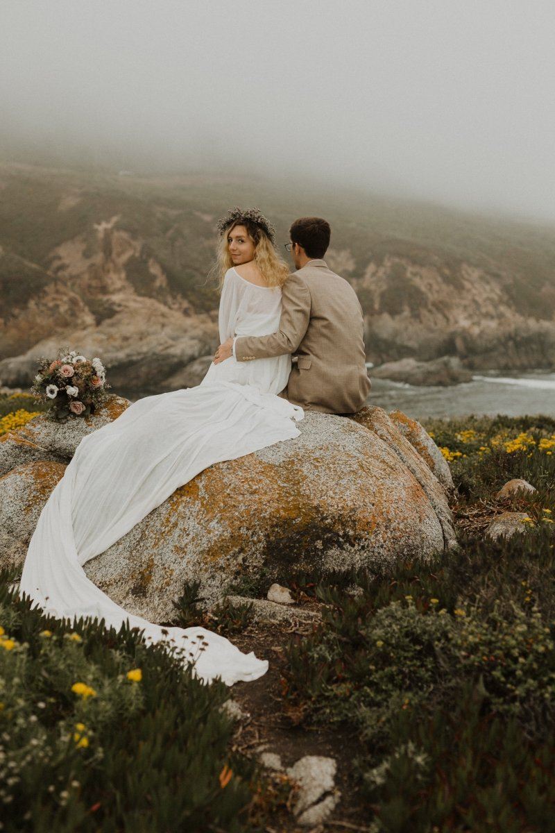 Bridal portrait with husband at Garrapata State Park.