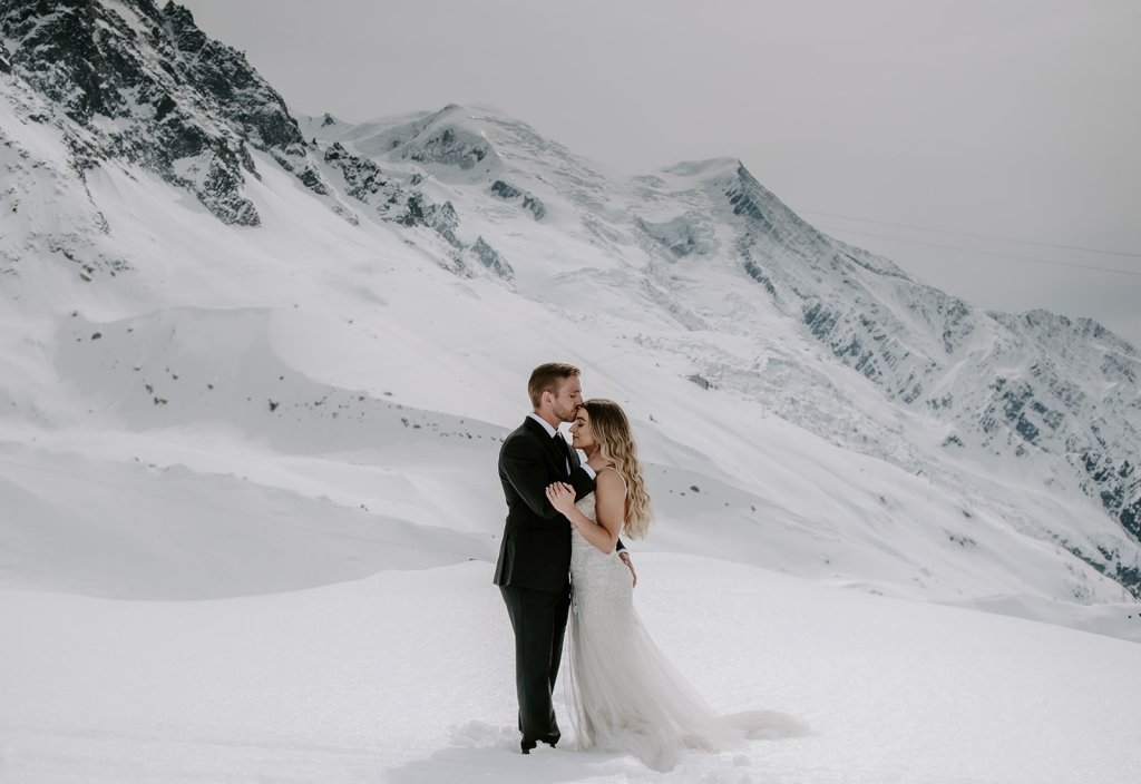 winter elopement in Chamonix France mountain wedding