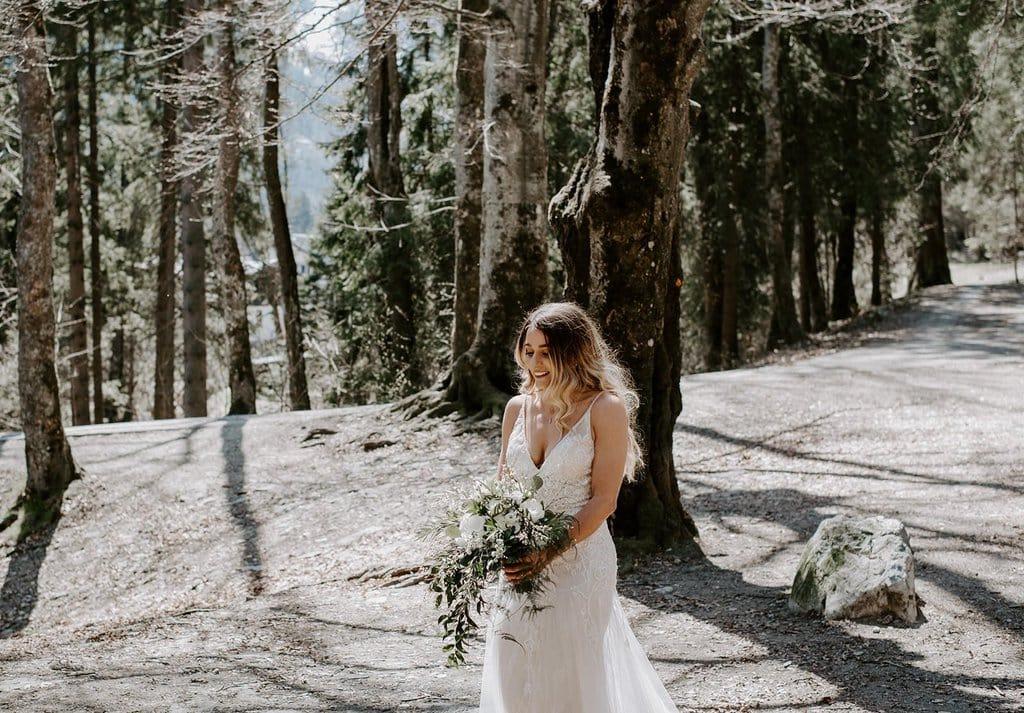 bridal portrait in France mountain wedding.