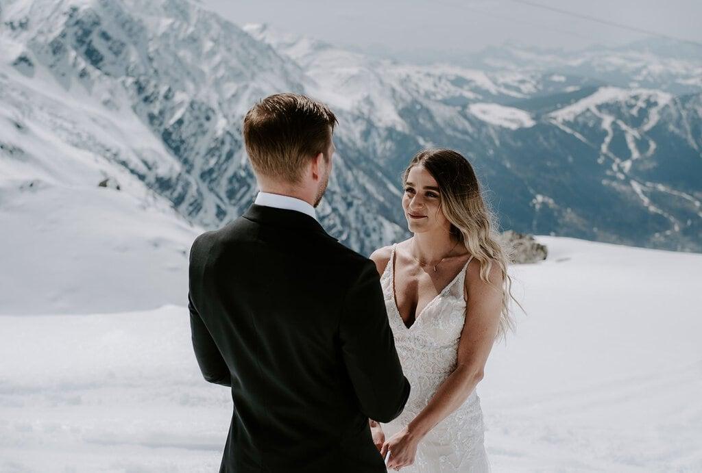 winter elopement chamonix france mountain wedding