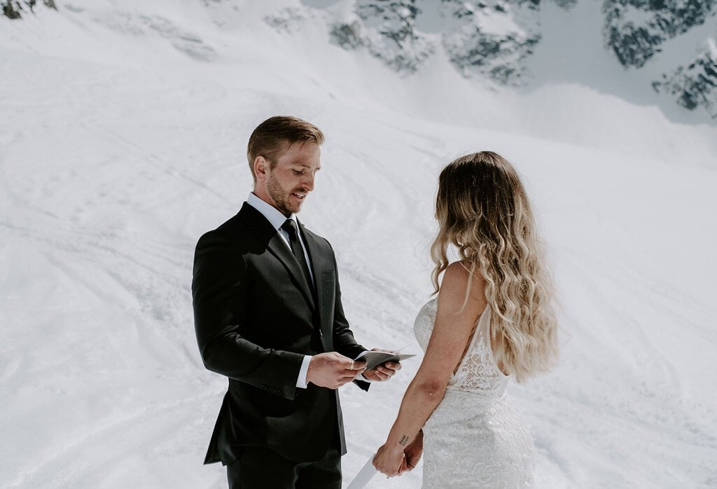 Groom exchanges vows in Chamonix, France.