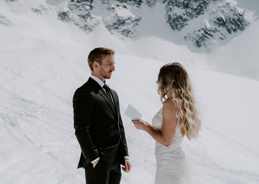 bride exchanges vows with husband at Chamonix, France.