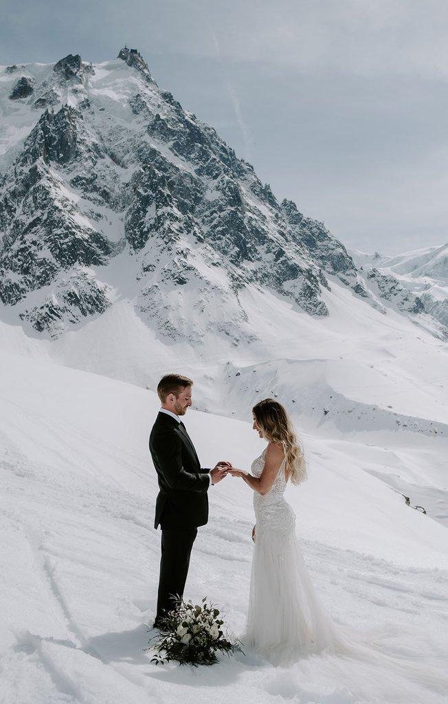 Winter elopement in Chamonix, France.