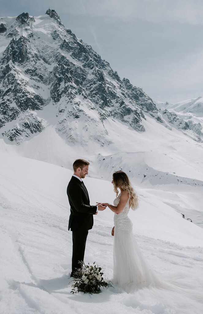 snowy mountain bridal photography.