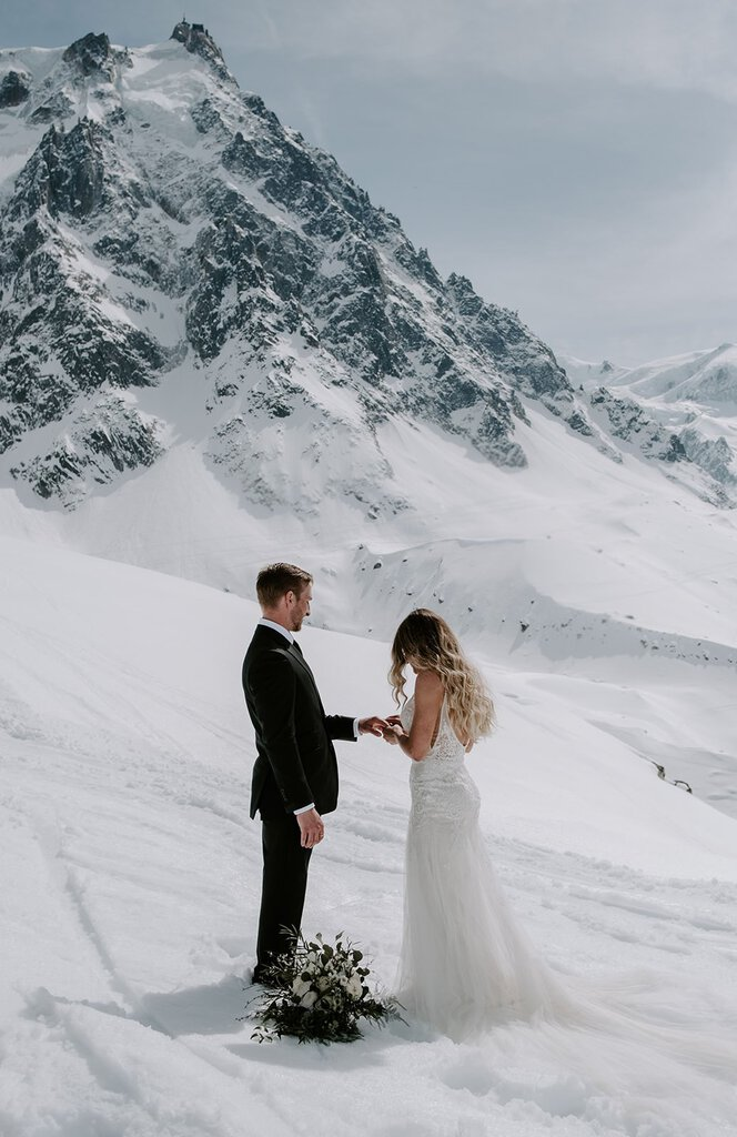 winter elopement in chamonix france.