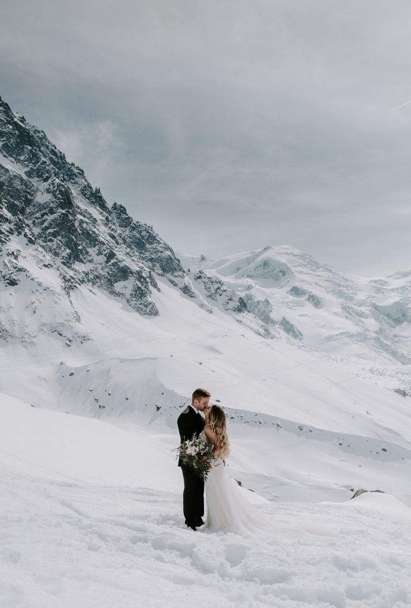 winter elopement in France.