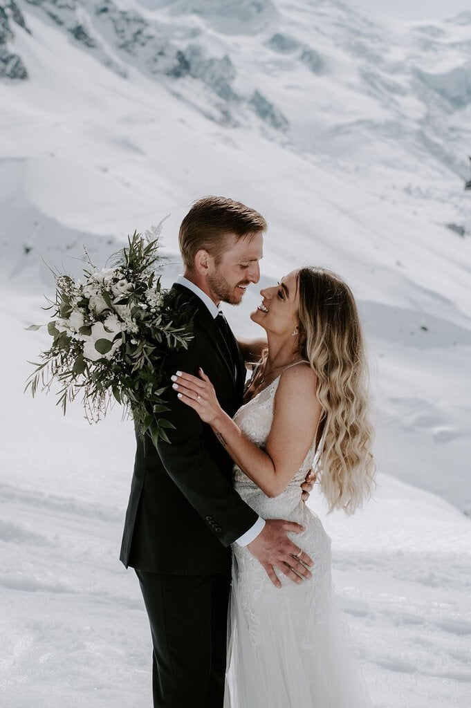 Snowy Mountain Elopement in Chamonix, France