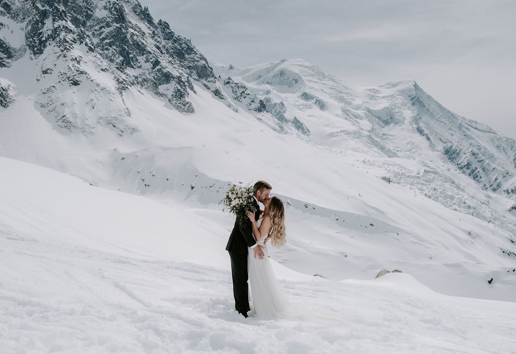 Snowy mountain elopement photography.
