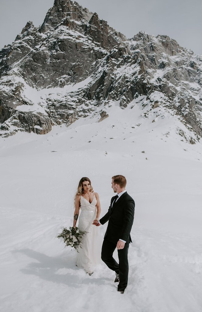 Snowy mountain intimate wedding photography.