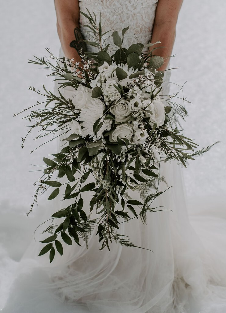 Detail photography of wedding bouquet.