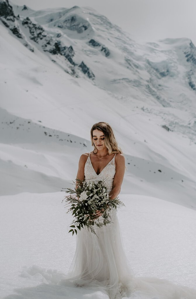 Bridal photography with her bouquet.