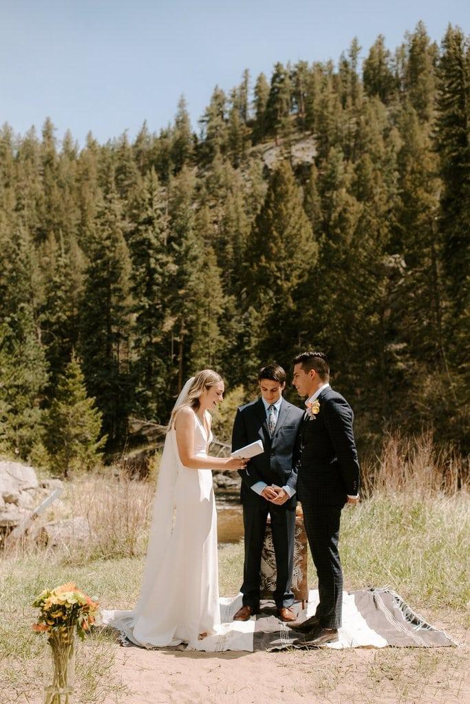 rocky mountain national park intimate wedding ceremony