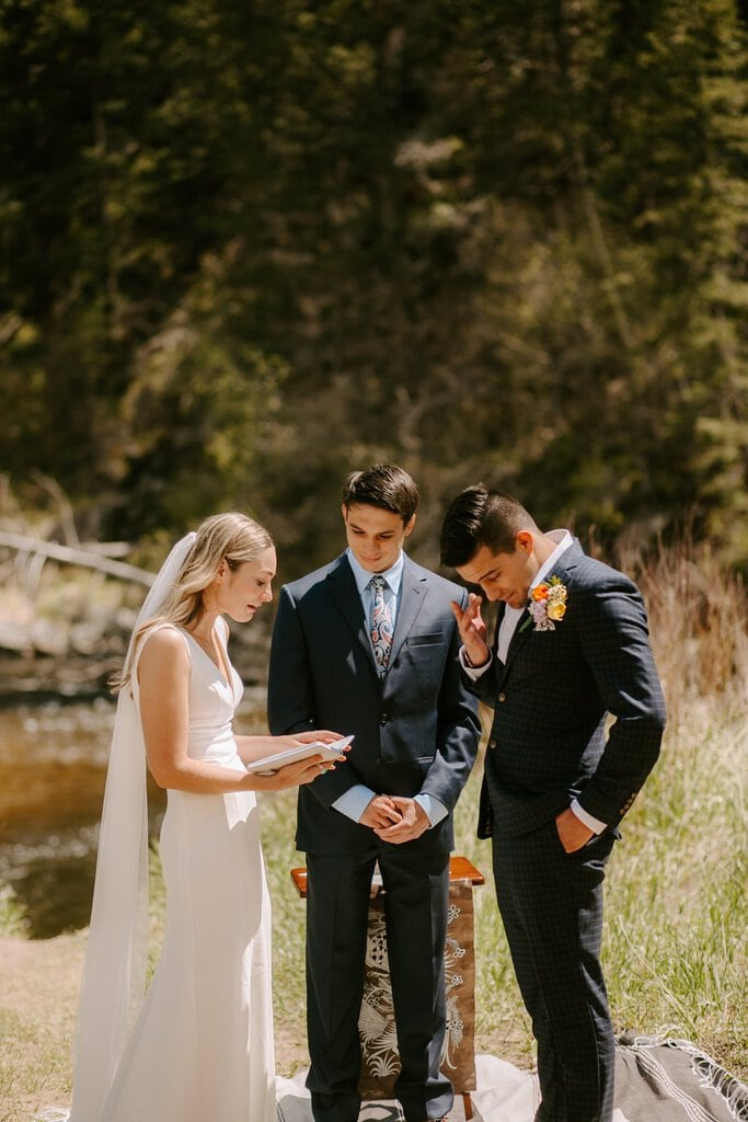 Colorado intimate wedding vows between husband and wife