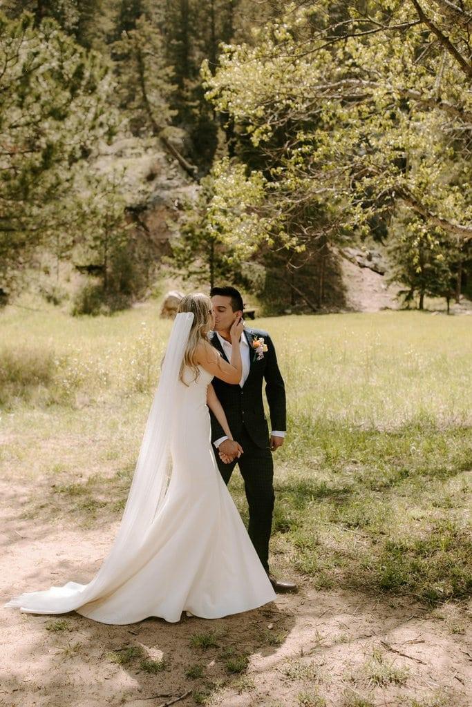 Bride and groom portrait in rocky mountain Colorado