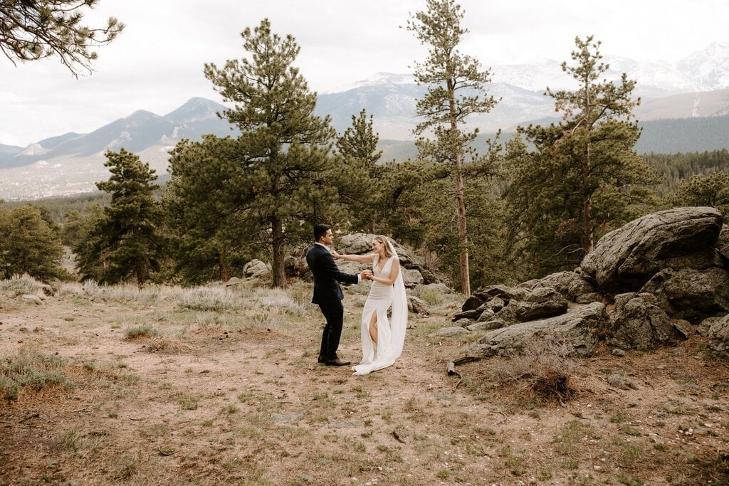 Intimate wedding portrait at Colorado's national park