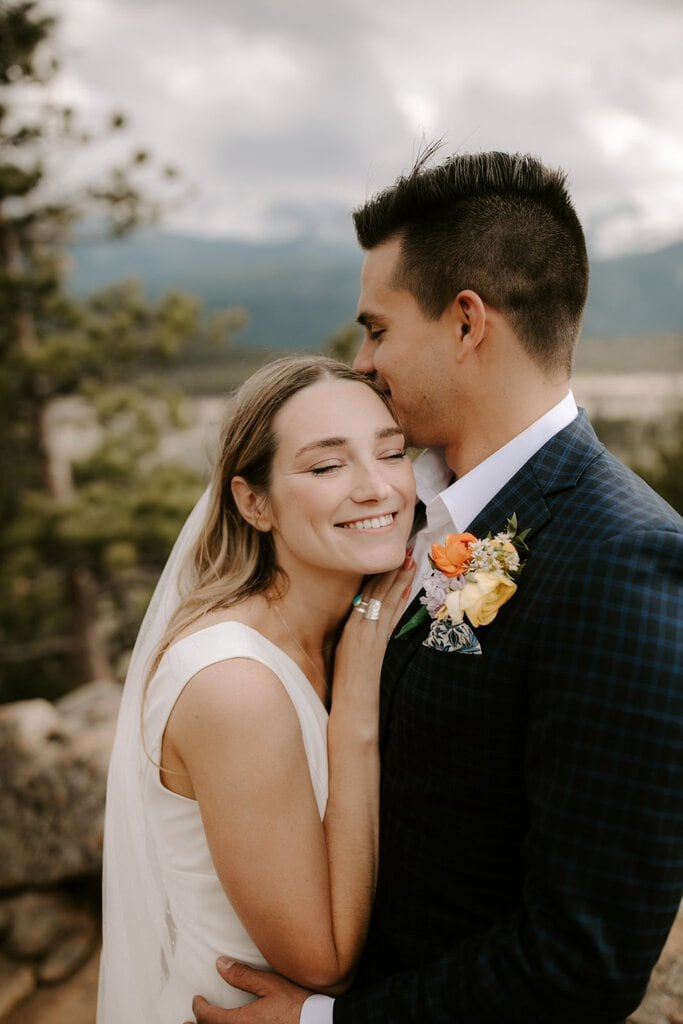 newlyweds smiling for elopement.