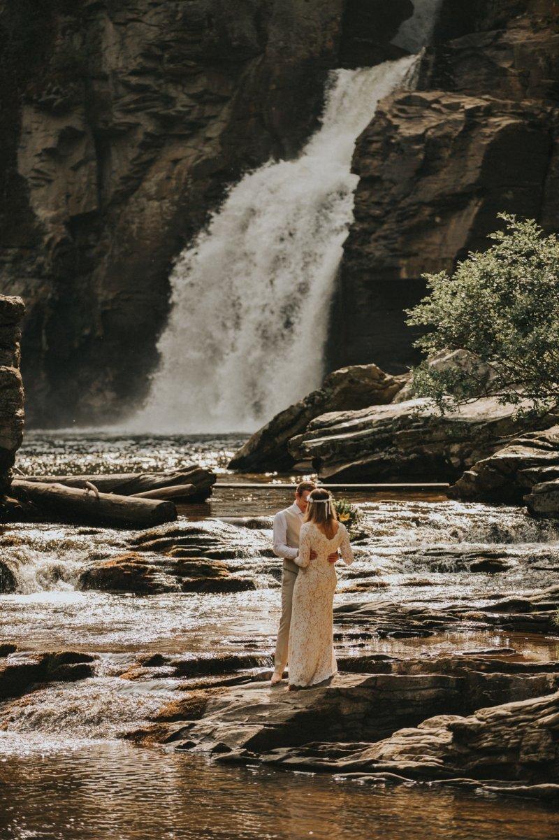 North Carolina waterfall elopement.