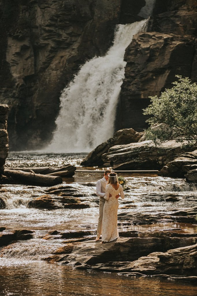 North Carolina waterfall elopement.