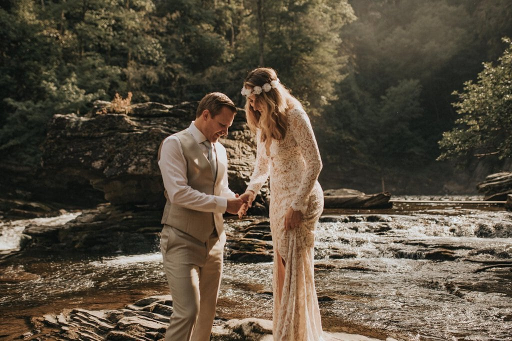 adventure elopement in linville gorge wilderness.
