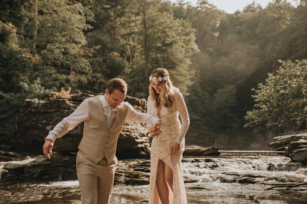 linville gorge wilderness elopement.