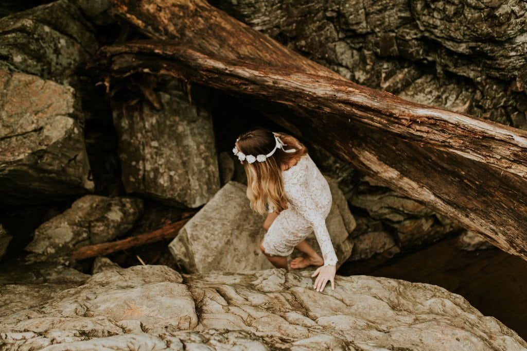 bride climbing down linville gorge wilderness.