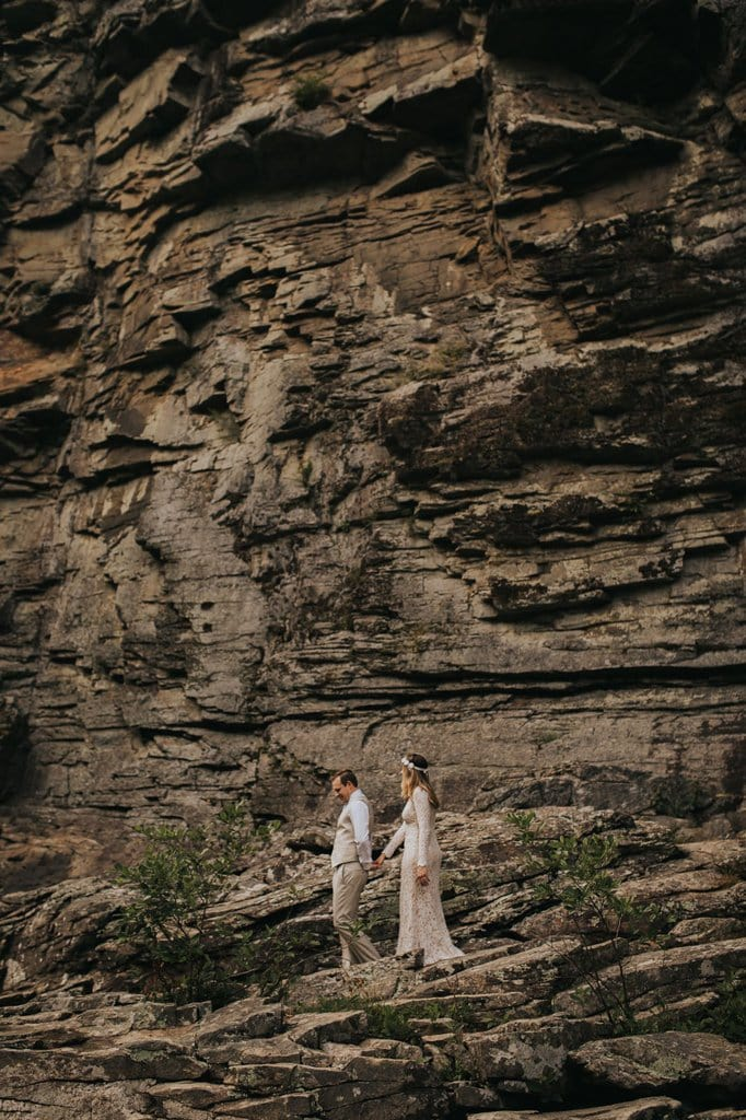 Hiking elopement in linville gorge wilderness.