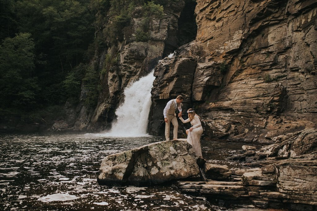 linville gorge wilderness boho elopement.