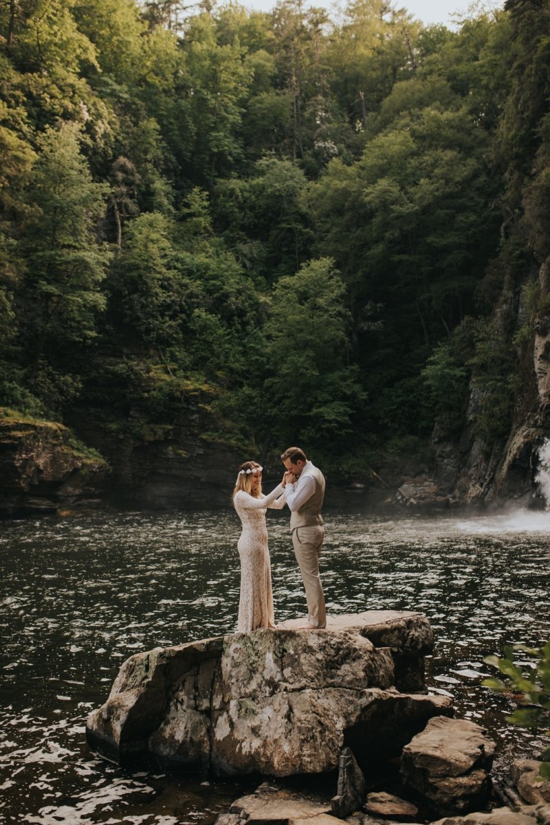 wedding photography in linville gorge wilderness.