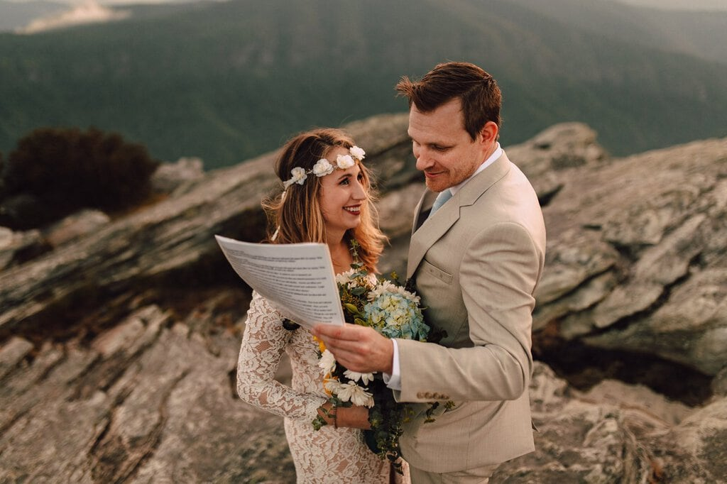 bride exchanges vows in Linville gorge wilderness.