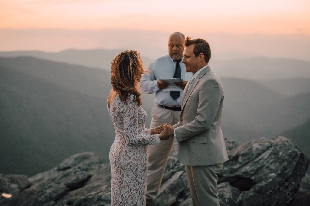 officiant with couple at linville gorge wilderness.