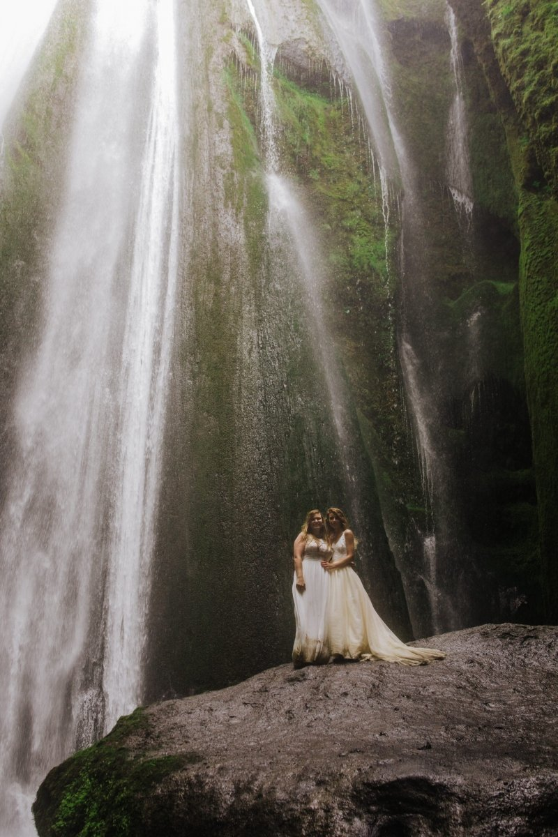 Elopement photography by waterfall.
